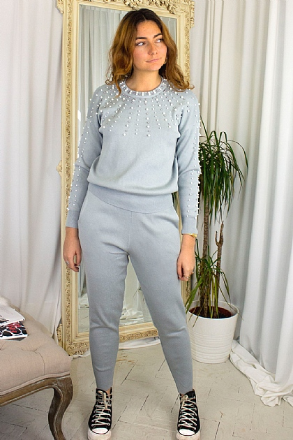Pearl Knitted Loungewear Co-ord Set in Grey
