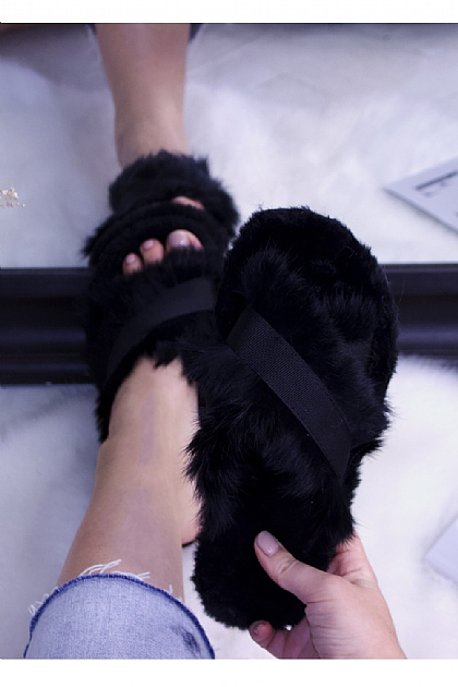 Fluffy Faux Fur Crossover Slippers in Black