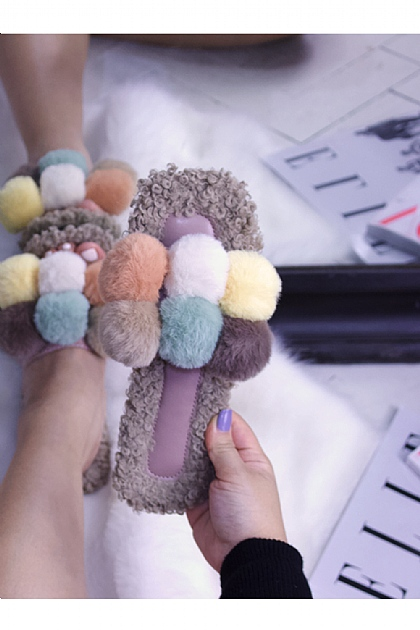 Fluffy Faux Fur Pompom Slippers in Multi