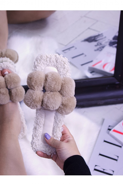 Fluffy Faux Fur Pompom Slippers in Nude