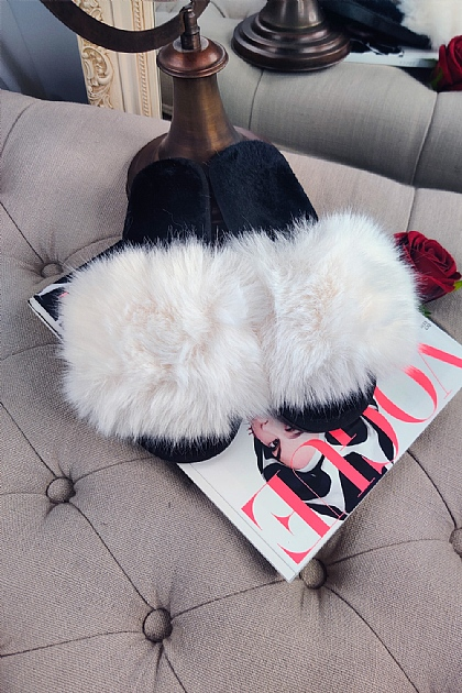 Fluffy Faux Fur Slippers in White