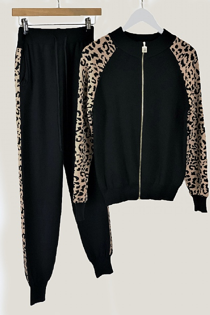 Black Knitted Co-ord Set Leopard Sleeves Loungewear