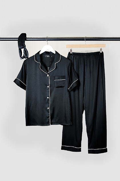 Black Satin Pyjamas and Headband