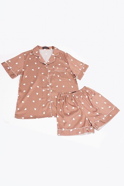 Heart Printed Satin Pyjamas in Brown