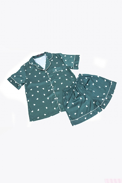 Heart Printed Satin Pyjamas in Emerald Green