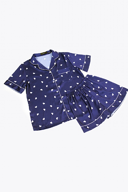 Heart Printed Satin Pyjamas in Navy