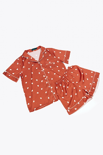 Heart Printed Satin Pyjamas in Orange