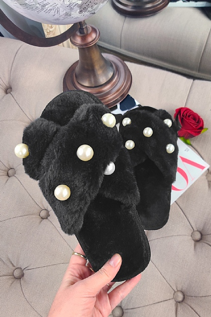 Fluffy Faux Fur Pearl Crossover Slippers in Black