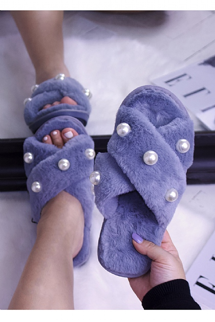 Fluffy Faux Fur Pearl Crossover Slippers in Dusty Blue