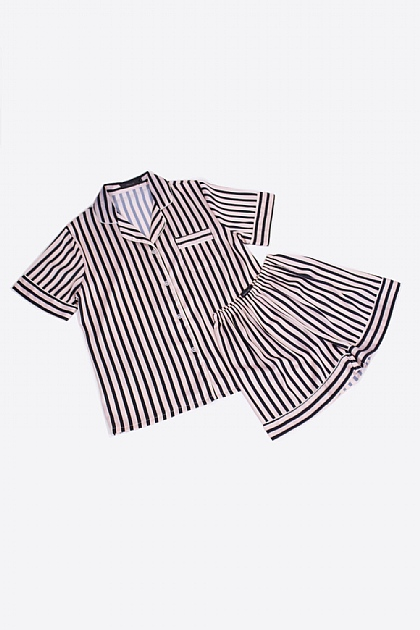 Striped Satin Pyjamas in Pink and Black