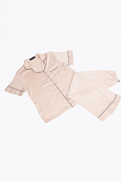 Satin Black Piping Pyjamas in Champagne