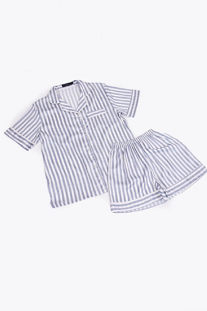 Striped Satin Pyjamas in White and Grey