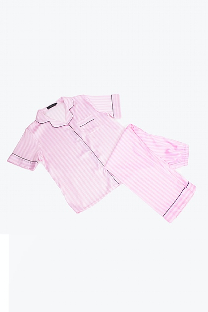 Stripe Satin Black Piping Pyjamas in Baby Pink