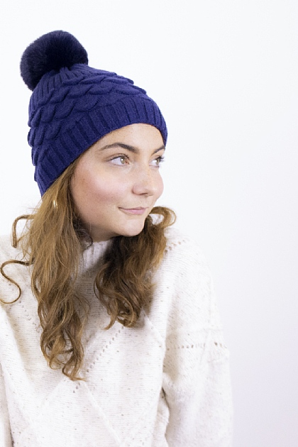 Maxi Knitted Pompom Beanie in Navy