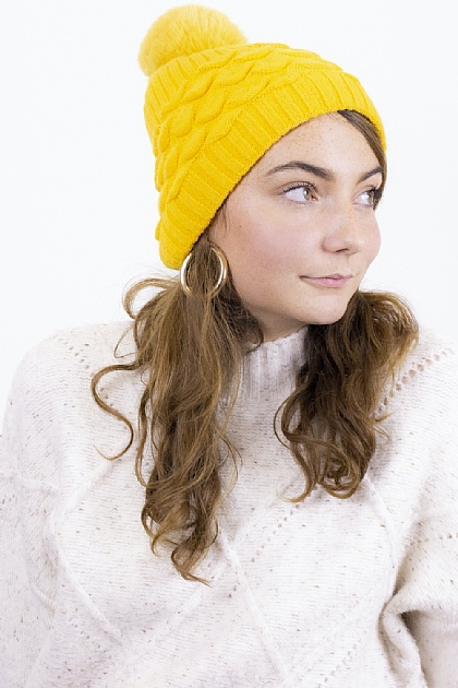 Maxi Knitted Pompom Beanie in Yellow