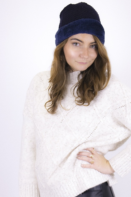 Knitted Fluffy Beanie in Navy
