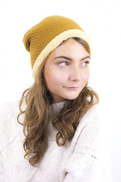 Knitted Fluffy Beanie in Camel