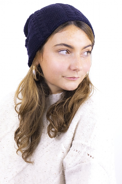 Knitted Fluffy Beanie in Blue
