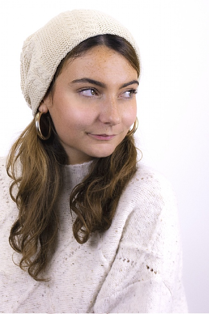 Knitted Fluffy Beanie in Cream