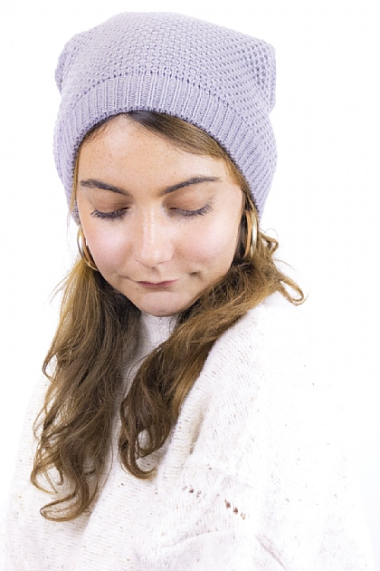 Maxi Knitted Beanie in Light Grey