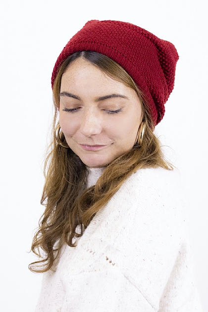 Maxi Knitted Beanie in Red