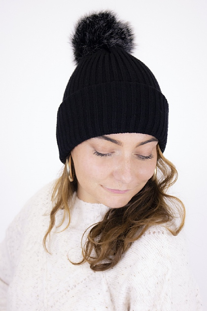 Pompom Knitted Interchangeable Beanie Scarf in Black