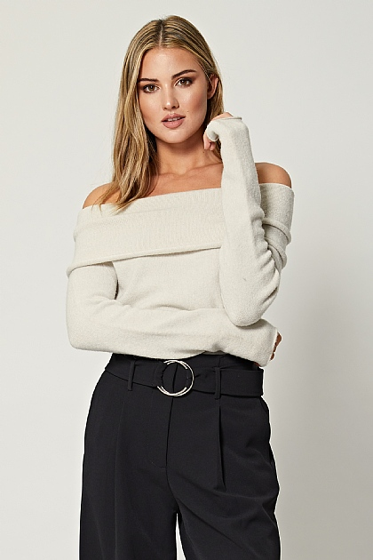 Cream Off Shoulder Knit Jumper