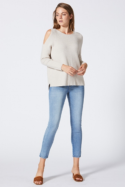 Cream Knitted Off Shoulder Jumper