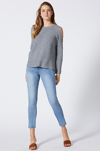 Grey Knitted Off Shoulder Jumper