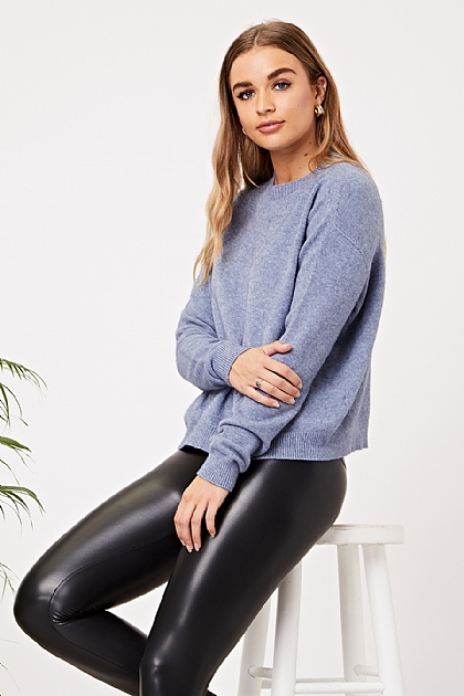 Soft Knit Jumper with Pockets in Blue