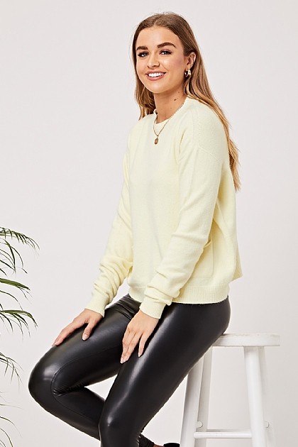 Soft Knit Jumper with Pockets in Pastel Yellow