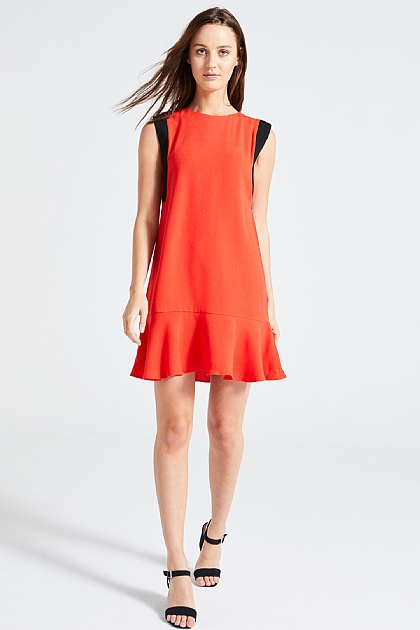 Red and Black Flounced Boxy Dress