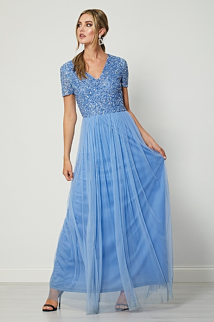 Bridesmaid V-Neck Embellished Maxi Dress in Aquatic Blue