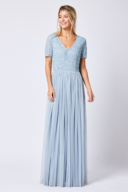 Heather Blue Short Sleeved Embellished Maxi Dress
