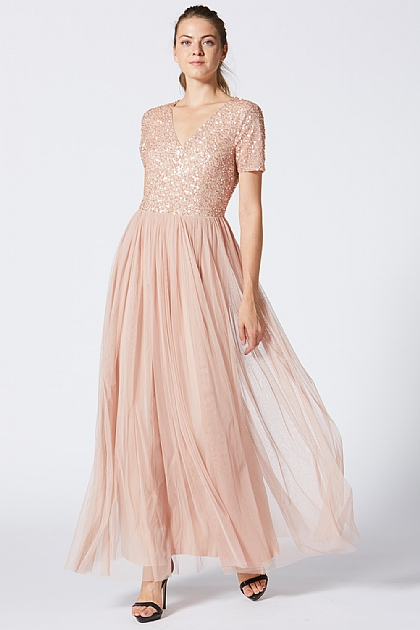 Bridesmaid V-Neck Embellished Maxi Dress in Peach