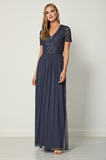 Bridesmaid V-Neck Embellished Maxi Dress in Gun Metal