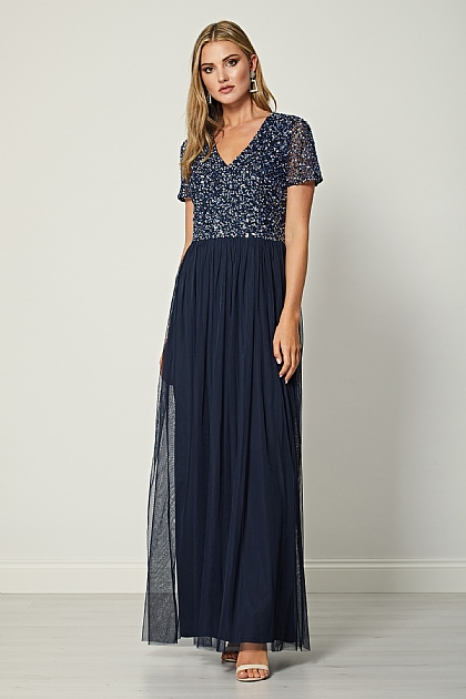 Bridesmaid V-Neck Embellished Maxi Dress in Navy