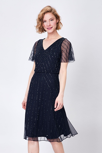 Navy Embellished Sheer Floaty Midi Dress