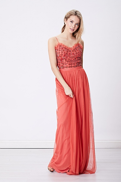 Salmon Red Embellished Cami Maxi Dress