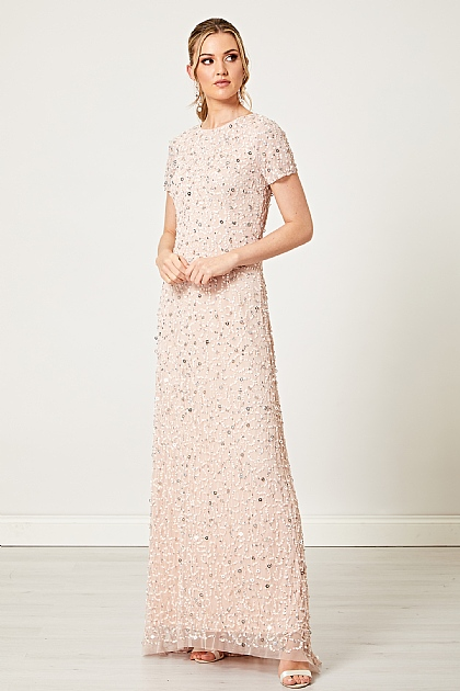 Light Pink Embellished Beaded Sequin Maxi Dress