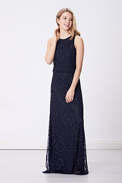Navy Beaded Embellished Maxi Dress