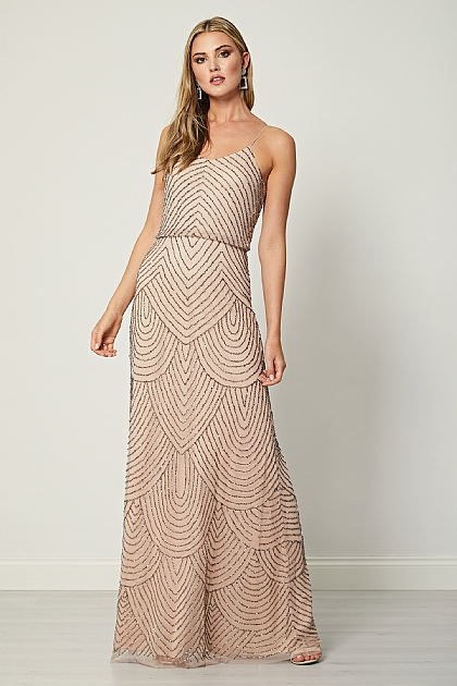 Nude Pink Stripe Embellished Cami Maxi Dress