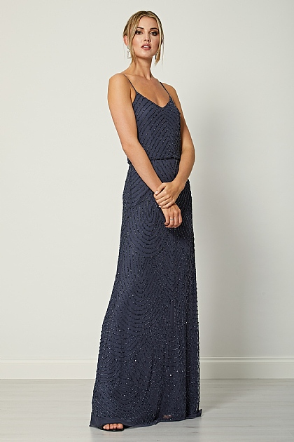 Dark Grey Stripe Embellished Cami Maxi Dress