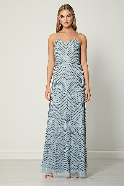 Heather Blue Sequin Beaded Maxi Dress