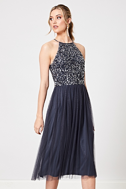 Navy Halterneck Embellished Sequin Midi Dress