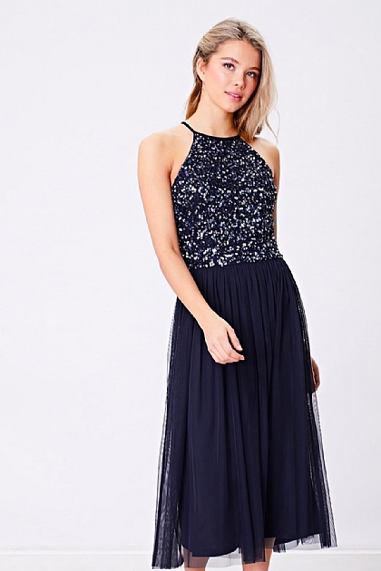 Navy Sequin Embellished Halterneck Midi Dress
