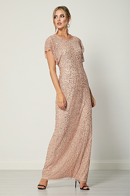 Cameo Rose Short Sleeve Sequin Maxi Dress