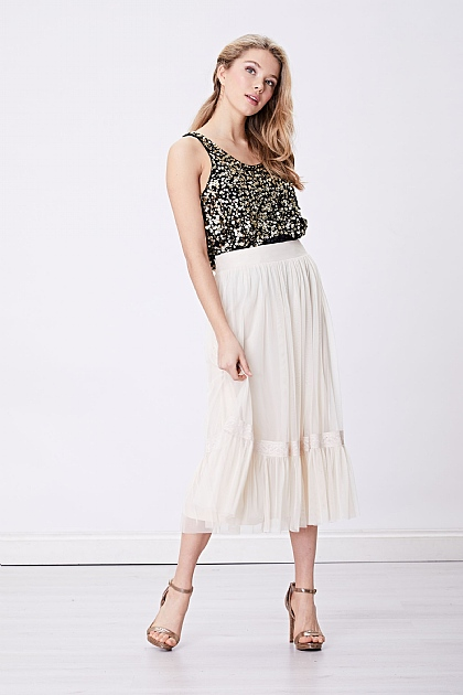 Cream Sheer Midi Skirt with Drop Hem
