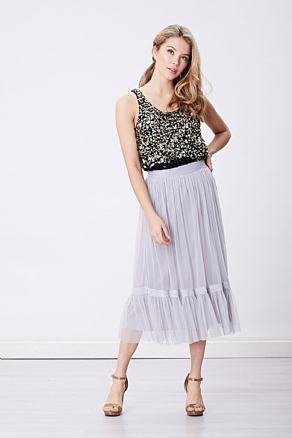 Grey Sheer Midi Skirt with Drop Hem