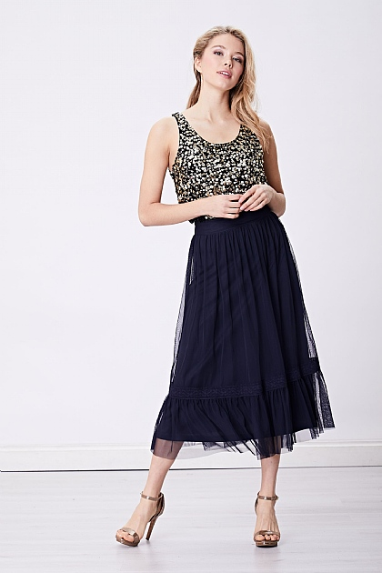 Navy Sheer Midi Skirt with Drop Hem